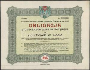 Poż. miasta Poznania 1926 r. Obligacja na 100 zł