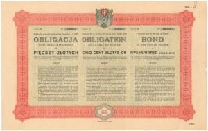 Poż. miasta Poznania 1929 r. Obligacja na 500 zł