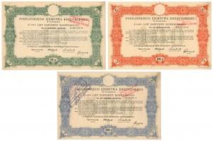 Poznań, PZK, Listy zastawne konwersyjne 1925 - zestaw (3szt)