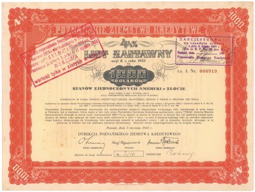 Poznań, PZK, List zastawny 1933 - 1.000 dolarów