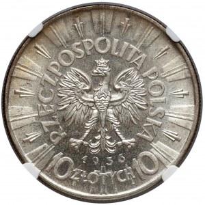 Piłsudski 10 złotych 1936 - NGC MS61