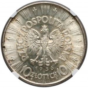 Piłsudski 10 złotych 1936 - NGC MS62+