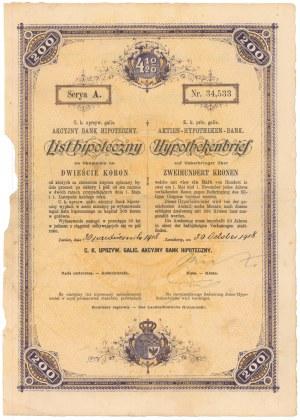 Lwów, Akc. Bank Hipoteczny, List hipoteczny 200 koron 1918