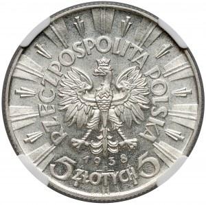 Piłsudski 5 złotych 1938 - NGC MS63