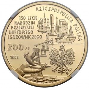 200 złotych 2003, 150-lecie Narodzin Przemysłu Naftowego i Gazowego - NGC PF69 UC
