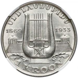 Estonia, 1 korona 1933 - 10 Festiwal Piosenkarski w Tallinie - NGC UNC
