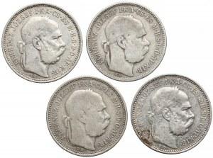Austro-Węgry, 1 korona 1892 K.B. - rzadsze - zestaw (4szt)