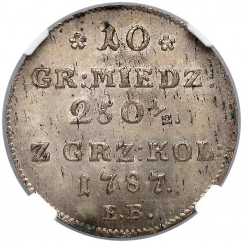 Poniatowski, 10 groszy 1787-E.B - piękne - NGS MS62