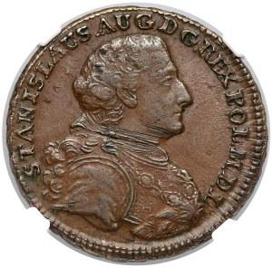 Poniatowski, Trojak Kraków 1766-g - Ludewig - NGC AU55 BN