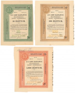 Wileński Bank Ziemski, Listy zastawne Ser.I 1926 - zestaw (3szt)