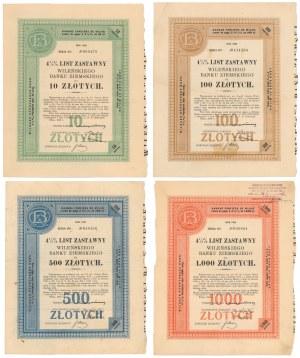 Wileński Bank Ziemski, Listy zastawne Ser.II 1929 - zestaw (4szt)