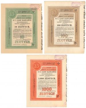 Wileński Bank Ziemski, Listy zastawne Ser.III 1934 - zestaw (3szt)