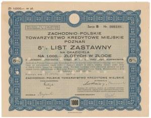 Poznań, Zachodnio-Polskie TKM, List zastawny 1.000 zł 1936