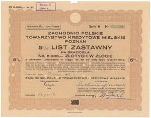 Poznań, Zachodnio-Polskie TKM, List zastawny 5.000 zł 1939