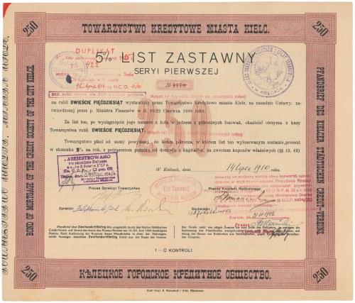 Kielce, TKM, List zastawny 250 rubli 1910