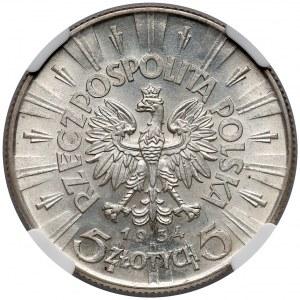 Piłsudski 5 złotych 1934 - NGC MS61