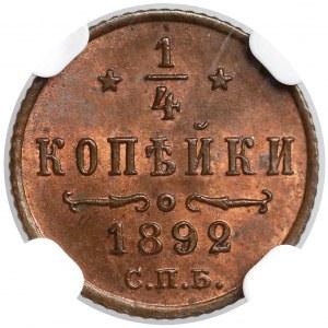 Rosja, Aleksander III, 1/4 kopiejki 1892 - NGC MS63 RB