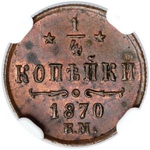 Rosja, Aleksander II, 1/4 kopiejki 1870 EM - NGC MS62 BN