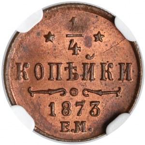 Rosja, Aleksander II, 1/4 kopiejki 1873 EM - NGC MS63 RB