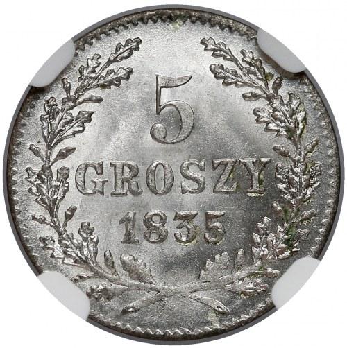 Wolne Miasto Kraków, 5 groszy 1835 - NGC MS67 (Max i jedyna)