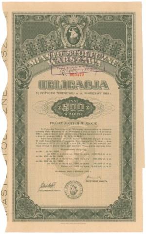 Poż. Terenowa m. st. Warszawy 1933 r. Obligacja na 500 zł