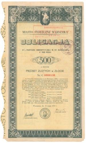 Poż. Inwestycyjna m. st. Warszawy 1935 r. Obligacja na 500 zł