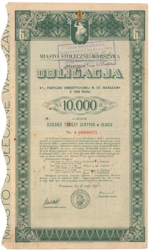 Poż. Inwestycyjna m. st. Warszawy 1935 r. Obligacja na 10.000 zł