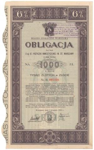 Poż. Inwestycyjna m. st. Warszawy 1936 r. Obligacja na 1.000 zł