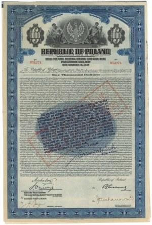 7% Pożyczka Stabilizacyjna 1927, Obligacja $1.000 TRANCHE FRANCAISE