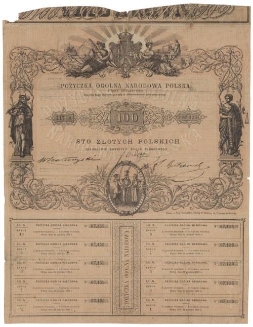 Powstanie styczniowe, Pożyczka Ogólna Narodowa Polska, 100 zł 1863