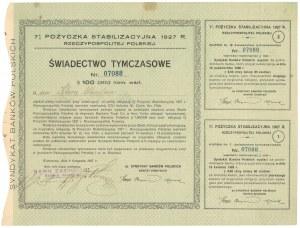 7% Pożyczka Stabilizacyjna 1927, Świadectwo tymczasowe $100