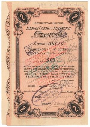 Towarzystwo Akcyjne Fabryki Cukru i Rafinerji CZERSK, 2x 15 zł 1927