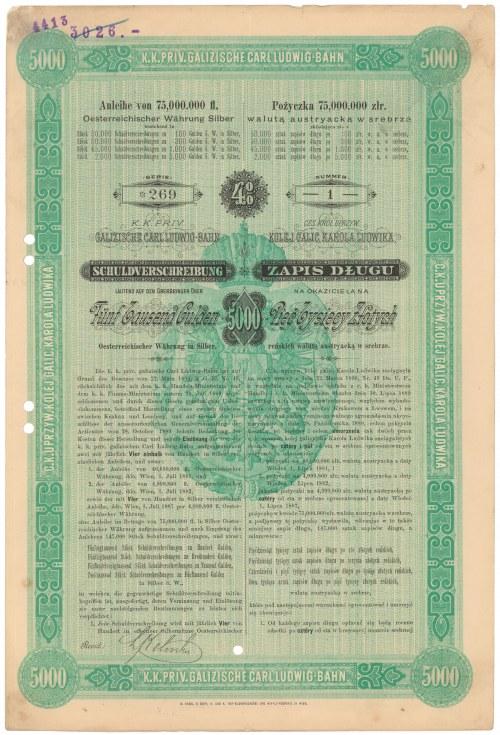 Kolej Galicyjska Karola Ludwika, ZAPIS DŁUGU (obligacja) na 5.000 zł 1890