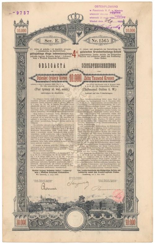 Poż. Królestwa Galicyi i Lodomeryi... Lwów 1893 r. Obligacja na 10.000 koron