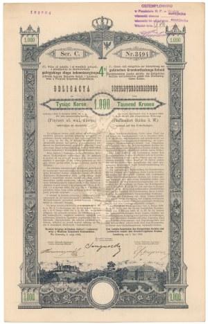 Poż. Królestwa Galicyi i Lodomeryi... Lwów 1893 r. Obligacja na 1.000 koron