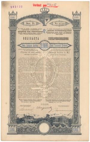 Poż. Królestwa Galicyi i Lodomeryi... Lwów 1893 r. Obligacja na 2.000 koron