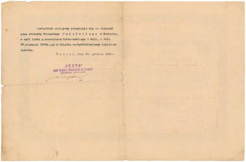 WESTA Bank Wzajemnych Zabezpieczeń Na Życie, Certyfikat Udziału na 100 talarów 1878