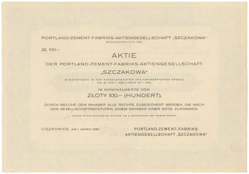 Spółka Akcyjna Fabryki Portland-Cementu SZCZAKOWA, 100 zł 1932