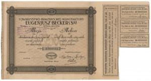 Towarzystwo Białostockiej Manufaktury EUGENIUSZ BECKER I Ska, 22.500 mkp 1923