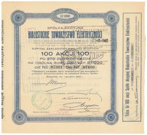 Białostockie Towarzystwo Elektryczności, 100x 270 zł 1926