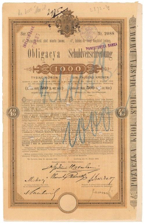 Poż. miasta Lwowa 1896 r. Obligacja na 1.000 koron