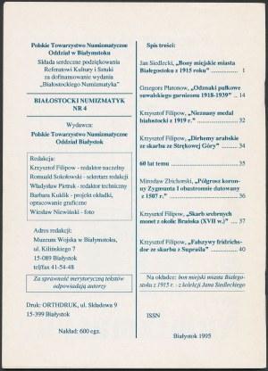 Białostocki Numizmatyk 4/1995 z opisem kolekcji Jana Siedleckiego