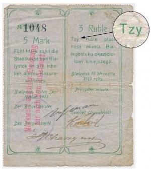 Białystok, 5 Mk = 3 rub 1915 - z błędem 'Tzy'