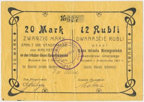 Ex. Siedlecki, Białystok, 20 Mk = 12 rub 1915