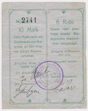Ex. Siedlecki, Białystok, 10 Mk = 6 rub 1915