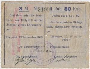 Białystok, 3 Mk = 1 rub 80 kop 1915