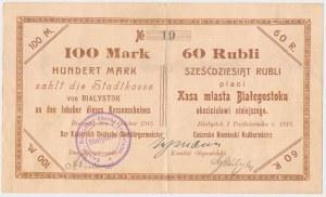 Białystok, 100 Mk = 60 rub 1915, numer dwucyfrowy