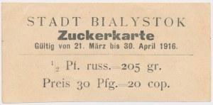 Ex. Siedlecki, Białystok, Kartka na cukier 1916