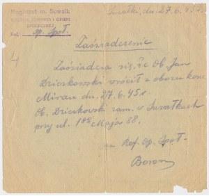 Ex. Siedlecki, Białystok, Kartka zaopatrzeniowa 1944