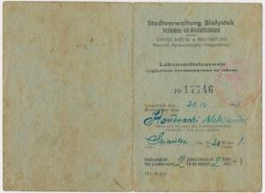 Ex. Siedlecki, Białystok, Legitymacja żywnościowa 1941 r.